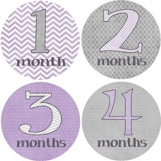 Rocket Bug 'Pretty in Purple' Monthly Baby Bodysuit Stickers (Set of 13)