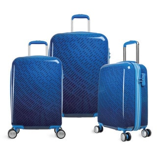 Olympia T-Line Gam 3-piece Blue Line Polycarbonate Hardside 4-wheel Spinner Luggage Set