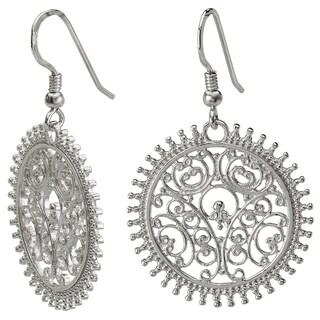 Avanti Sterling Silver Round Filigree Earrings