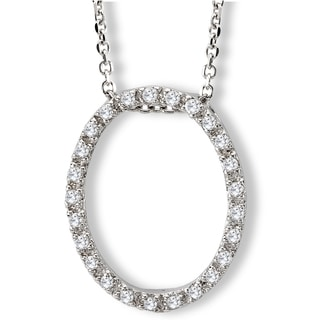 Avanti Sterling Silver Cubic Zirconia Oval Necklace