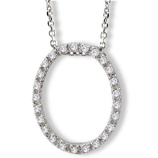 Avanti Sterling Silver Cubic Zirconia Oval Necklace