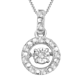 Divina Sterling Silver 1/10ct TDW Dancing Diamond Solitaire Halo Necklace