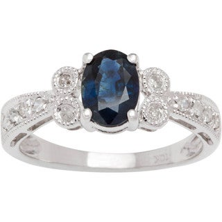 Viducci 10k White Gold Gemstone Diamond Accent Ring