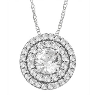 Divina Sterling Silver White Sapphire Round Necklace