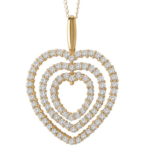 Avanti 14k Yellow Gold 3.8ct TGW Cubic Zirconia Triple Heart Necklace