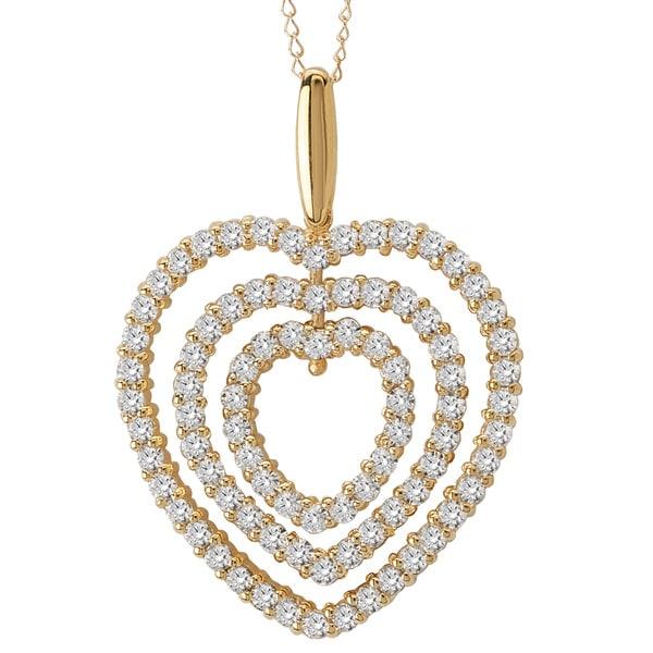 Avanti 14k Yellow Gold 3.8ct TGW Cubic Zirconia Triple Heart Necklace