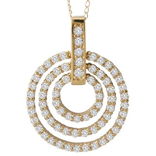 Avanti 14k Yellow Gold 3.8ct TGW Cubic Zirconia Triple Circle Necklace