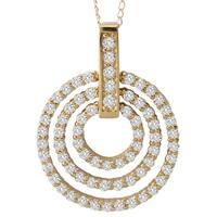 Avanti 14k Yellow Gold 3.8ct TGW Cubic Zirconia Triple Circle Necklace