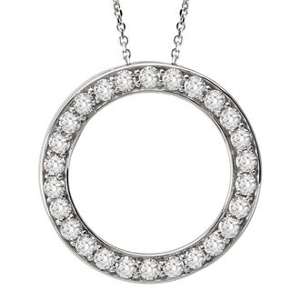 Avanti 14k White Gold Cubic Zirconia Circle Necklace