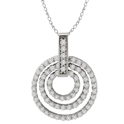 Avanti 14k White Gold 3.8ct TGW Cubic Zirconia Triple Circle Necklace