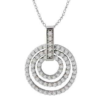 Avanti 14k White Gold 3.8ct TGW Cubic Zirconia Triple Circle Necklace