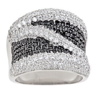 Decadence Sterling Silver Mircopave Black and White Cubic Zirconia Fancy Design Ring