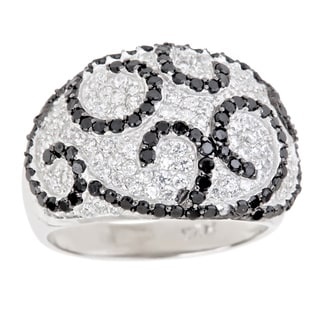 Decadence Sterling Silver Micropave Black and White Cubic Zirconia Swirl Design Cocktail Ring