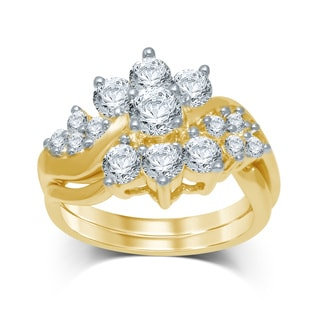 Unending Love 14k Yellow Gold 2ct TDW Diamond Flower Bridal Ring