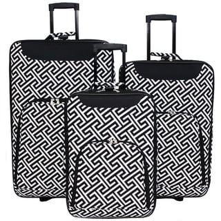 World Traveler Vogue Geometric Expandable 3-Piece Rolling Upright Luggage Set