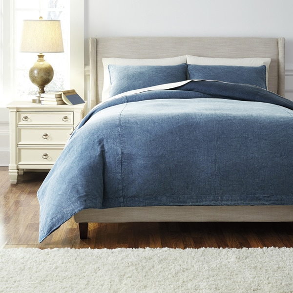 Signature Design By Ashley Denim 3 Piece Duvet Cover Set
