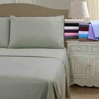 Superior Wrinkle Resistant Embroidered Microfiber Deep Pocket Bed Sheet Set