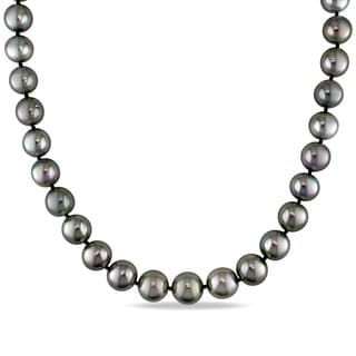 Miadora Signature Collection 14k White Gold Graduated Black Tahitian Pearl Strand and Diamond Accent Necklace (10-13mm)