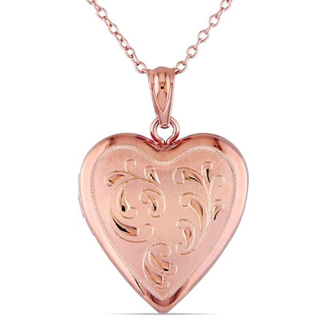 Miadora Rose Plated Silver Heart Locket Necklace