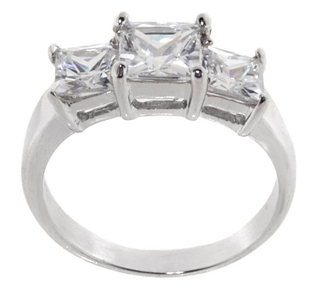 Journee Collection Sterling Silver Princess Bridal and Engagement CZ Ring