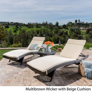 Luana Outdoor 3-piece Wicker Adjustable Chaise Lounge Set with Cushions by Christopher Knight Home (Option: Brown Wicker with Beige Cushion)