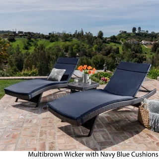 Luana Outdoor 3-piece Wicker Adjustable Chaise Lounge Set with Cushions by Christopher Knight Home (More options available)