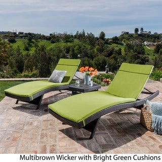 Havenside Home Vilano 3-piece Outdoor Cushioned Lounge Set (brown wicker with bright green cushion)