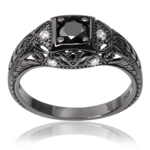 Journee Collection Rhodium-plated Sterling Silver Cubic Zirconia Vintage Engagement Ring