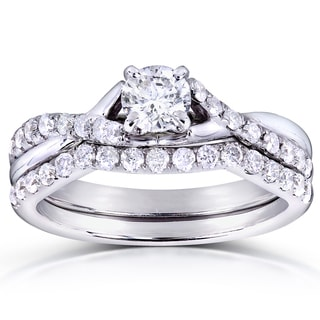 Annello by Kobelli 14k White Gold 3/4ct TDW Round-cut Diamond Bridal Set
