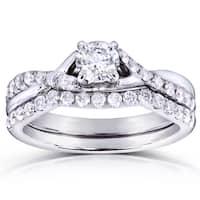 Annello by Kobelli 14k White Gold 3/4ct TDW Round-cut Diamond Bridal Set