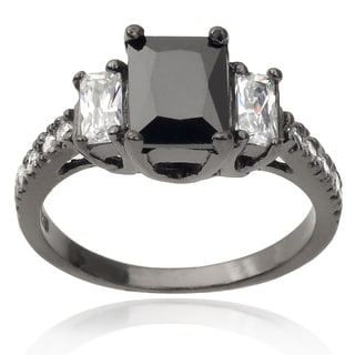Journee Collection Rhodium-plated Sterling Silver 3-stone Cubic Zirconia Engagement Ring