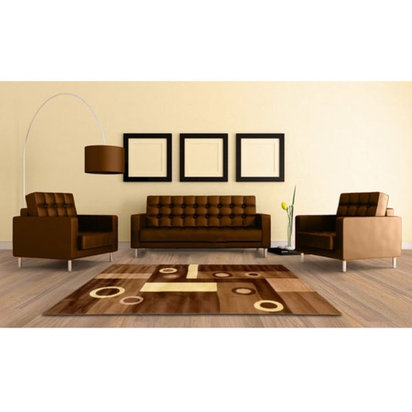 LYKE Home Geometric Prism Brown Area Rug - 5' x 8'