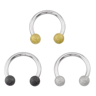 Supreme Jewelry Sandblasted Glitter Horseshoe Barbells (3-pack)