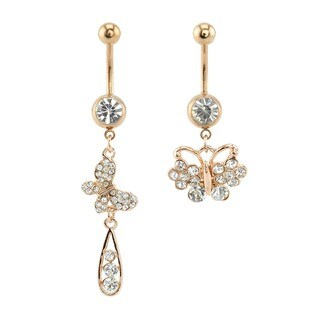 Supreme Jewelry 14G Rose Gold Butterfly Belly Ring (Set of 2)