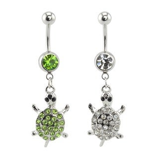 Supreme Jewelry Surgical Steel Turtle Belly Ring (2-pack)