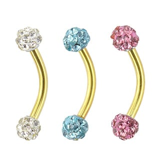 Supreme Jewelry Anodized Gold Eyebrow Ring with Multi-stone Value Pack (3-pack)