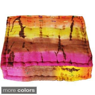 Handmade Large Tie-dye Floor Cushion (India)|https://ak1.ostkcdn.com/images/products/10045364/P17190316.jpg?impolicy=medium