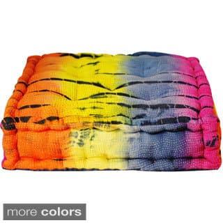 Handmade Small Tie-dye Floor Cushion (India)|https://ak1.ostkcdn.com/images/products/10045365/P17190317.jpg?impolicy=medium
