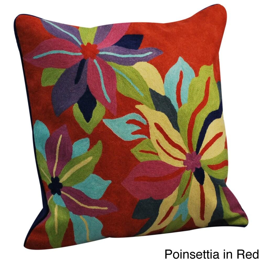 Handmade Crewel Work Pillows (India) (Poinsettia/Red), Si...