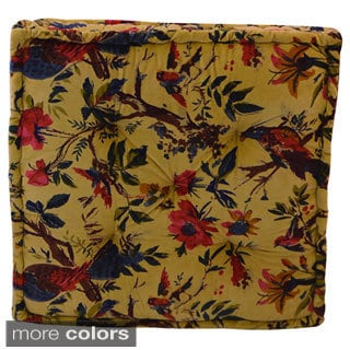 Handmade Small Velvet Floral Floor Cushion (India)