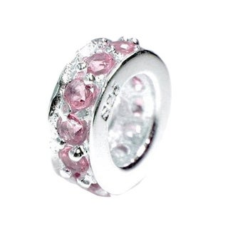 Queenberry Sterling Silver Round Rondelle Pink Cubic Zirconia European Bead Charm
