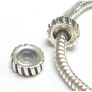 Queenberry Sterling Silver Focal Round Stopper with Rubber Bead for European Bead Charm