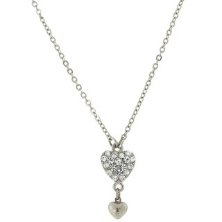 1928 Jewelry Silvertone Crystal Heart Drop Necklace