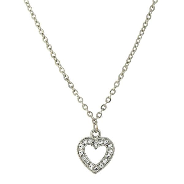 1928 Jewelry Silvertone Pave set Crystal Heart Necklace