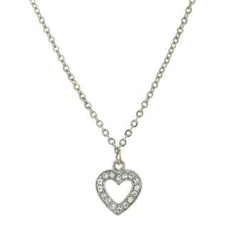1928 Jewelry Silvertone Pave-set Crystal Heart Necklace
