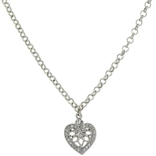 1928 Jewelry Silvertone Crystal Heart Necklace