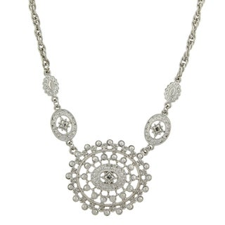 1928 Jewelry Art Deco-inspired Silvertone Medallion Charm Bib Necklace