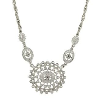 1928 Jewelry Art Deco inspired Silvertone Medallion Charm Bib Necklace