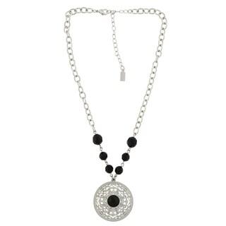 1928 Jewelry Silvertone Filigree Black Stone and Lux-Cut Black Bead Necklace