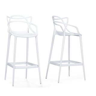 Modern White Plastic Bar Stool by Baxton Studio